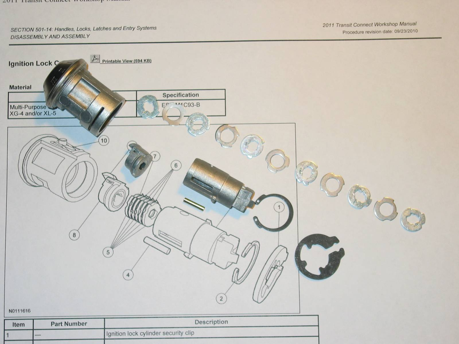 Assembling replacement ignition cylinder for 2011 Ford Transit