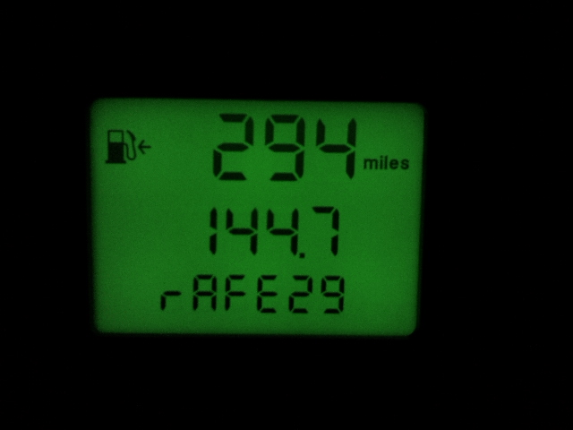 MPG displayed on my instrument cluster