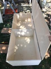 Interior of Box 1, the base of the couch and bed.